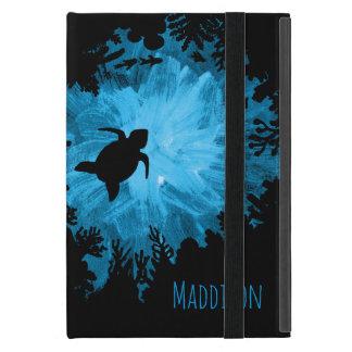 美しい珊瑚礁のカメの影の黒の青 iPad MINI ケース