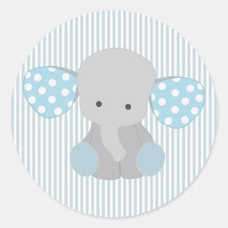 美しい男の赤ちゃんの青象 ラウンドシール