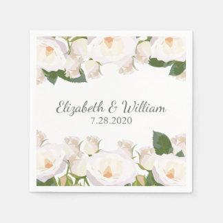 美しい白いバラのエレガントでロマンチックな結婚式 スタンダードカクテルナプキン