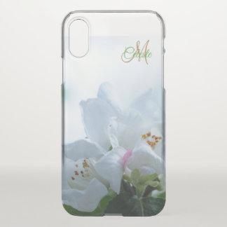 美しい白いバラのモノグラムのiPhone Xの箱 iPhone X ケース