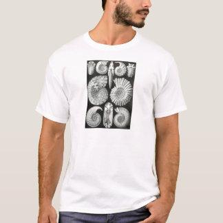 美しい白黒アンモナイトパターンデザイン Tシャツ