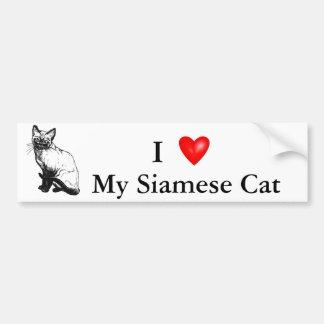 美しい白黒アートワーク-シャム猫 バンパーステッカー