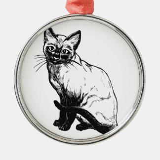 美しい白黒アートワーク-シャム猫 メタルオーナメント