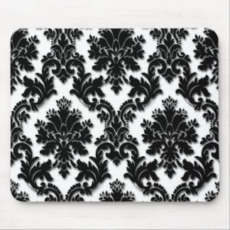 美しい白黒ダマスク織パターン マウスパッド