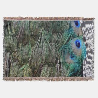 美しい目が付いている美しい孔雀の羽 スローブランケット