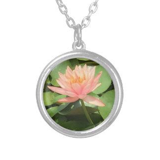 美しい禅のはすの花の銀のネックレス シルバープレートネックレス