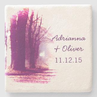 美しい秋の木の屋外の結婚式 ストーンコースター