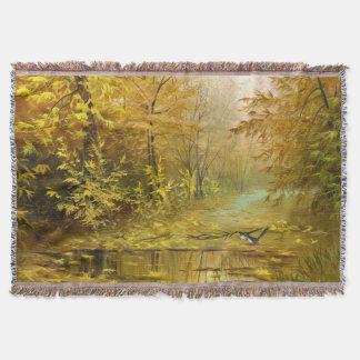 美しい秋の絵画によって編まれるブランケット スローブランケット