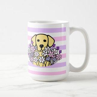 美しい精神の黄色のラブラドールのストライプなマグ コーヒーマグカップ