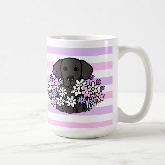 美しい精神の黒のラブラドールのストライプなマグ コーヒーマグカップ