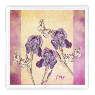 美しい紫色のアイリス花および蝶 アクリルトレー