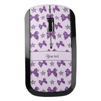 美しい紫色のサテンの弓 ワイヤレスマウス