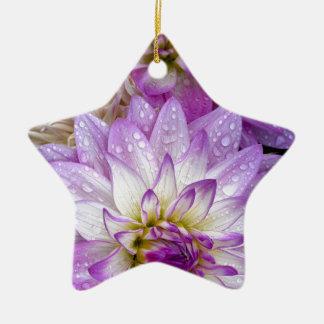 美しい紫色のダリアの花 セラミックオーナメント