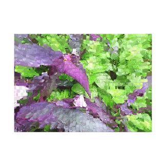 美しい紫色の緑のデジタル写真の芸術 キャンバスプリント
