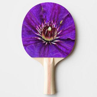 美しい紫色クレマチスの花 卓球ラケット