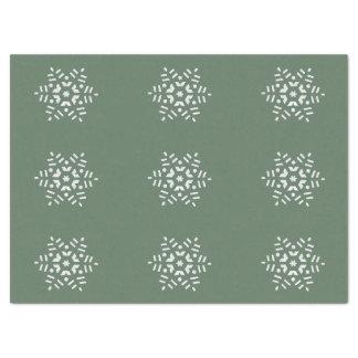 美しい緑および白いレトロの雪片 薄葉紙