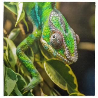美しい緑のカメレオン ナプキンクロス