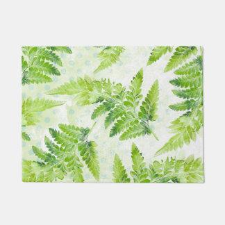 美しい緑のシダの植物の水彩画パターン ドアマット