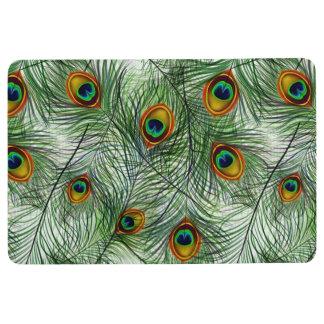 美しい緑の孔雀の羽 フロアマット