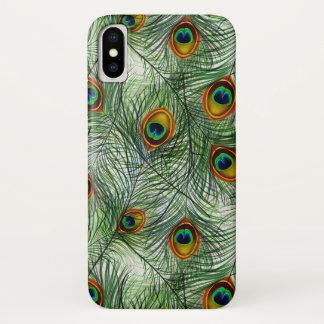 美しい緑の孔雀の羽 iPhone X ケース