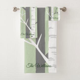 美しい緑の樺の木の自然 バスタオルセット