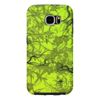 美しい緑の花の渦巻の線画 SAMSUNG GALAXY S6 ケース