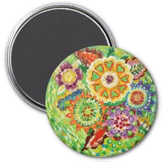 美しい緑の花7.6cmの円形の磁石 マグネット