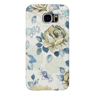 美しい緑バラおよび青い鳥 SAMSUNG GALAXY S6 ケース