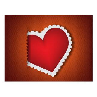 美しい織物のハート-バレンタインs日 ポストカード