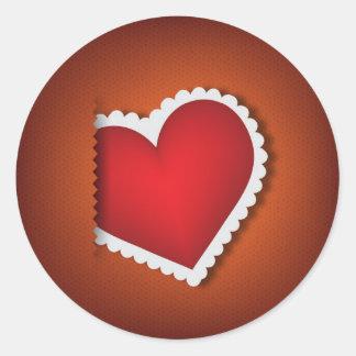 美しい織物のハート-バレンタインs日 ラウンドシール