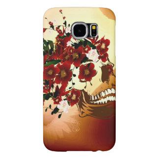 美しい花が付いているスカル SAMSUNG GALAXY S6 ケース