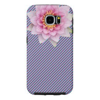 美しい花が付いているストライプのな電話箱 SAMSUNG GALAXY S6 ケース