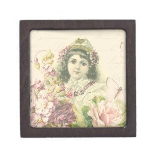 美しい花が付いているヴィンテージの女の子箱 ギフトボックス