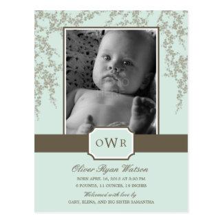美しい花のベビーの誕生の発表(アロエ) ポストカード