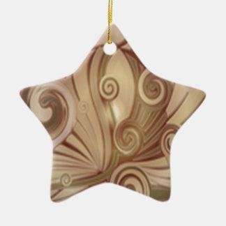美しい花の渦巻のデザイン 陶器製星型オーナメント