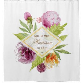 美しい花の花のたった今結婚しましたの結婚式の日付 シャワーカーテン