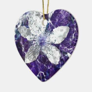 美しい花の花 陶器製ハート型オーナメント