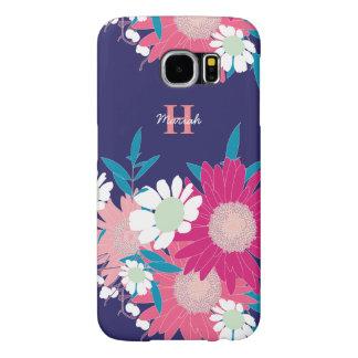 美しい花パターン名前入りなSamsungは包装します Samsung Galaxy S6 ケース