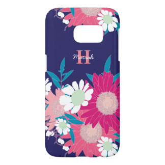 美しい花パターン名前入りなSamsungは包装します Samsung Galaxy S7 ケース