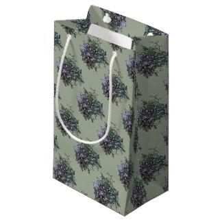 美しい花ラインスケッチの集りのデザイン スモールペーパーバッグ