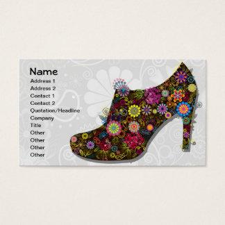 美しい花及び鳥の靴のレトロ 名刺