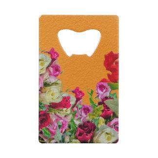 美しい花柄の抽象芸術のオレンジ クレジットカード 栓抜き