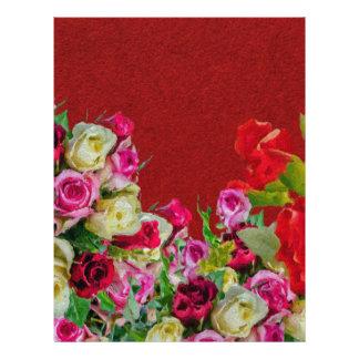 美しい花柄の抽象芸術の赤 レターヘッド