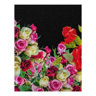 美しい花柄の抽象芸術の黒 レターヘッド