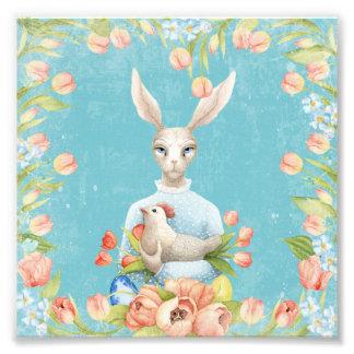 美しい花柄の花の動物のイースターのウサギ フォトプリント