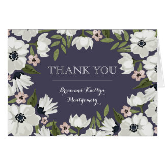 美しい花柄はメッセージカード-紫色感謝していしています ノートカード