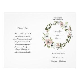 美しい花柄-結婚式プログラム チラシ
