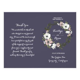 美しい花柄-結婚式プログラム-紫色 チラシ