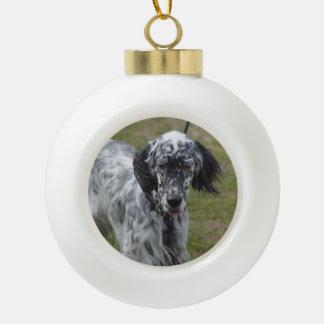 美しい英国セッター犬 セラミックボールオーナメント