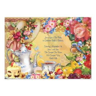美しい茶パーティの招待状 カード